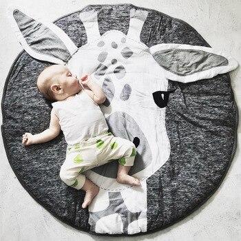 90cm Play Mat Round Crawling Blanket Giraffe Animal Infant Game Pad Play Rug Floor Carpet Baby Activity Gym Game Room Decor