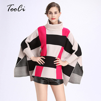 2017 Autumn Winter Fashion Ponchos And Capes High Collar Bat Sleeve Knit Shawl Pullovers Knitted Wool