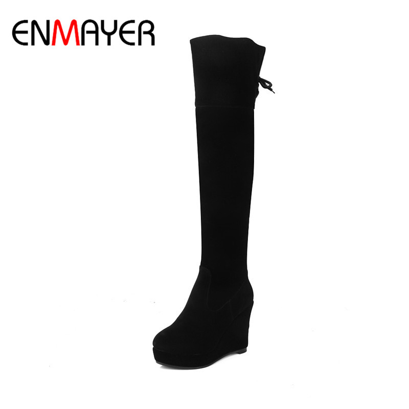 ENMAYER High Heels Zippers Winter Warm Boots Shoes Woman Long Boots Platform Shoes Wedges Round Toe Sexy Red Over-the-knee Boots enmayer winter warm high heels knee high boots women lace up cut out lace wedges boots shoes woman nubuck platform boots