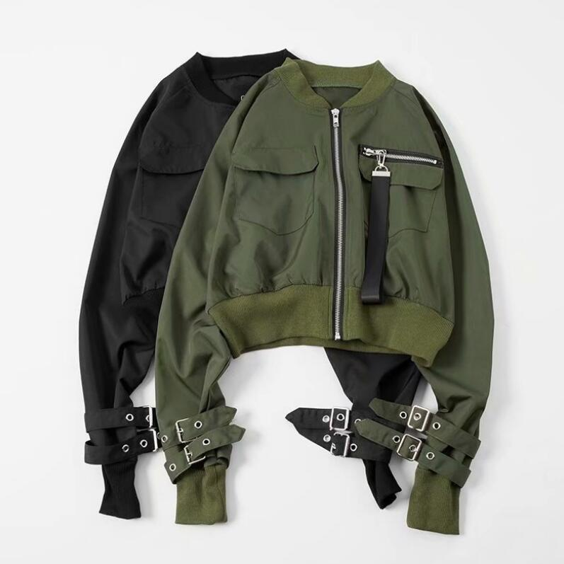 2019 new spring women Basic Jacket Hip Hop Zipper Short Baseball Jacket Coat High Waist Slim Bomber Jackets r664
