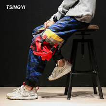 Tsingyi 5XL Camo Multi Pockets Joggers Camouflage Military Men Cargo Pant Spliced 100% Cotton Drawstring Ankle-length Pants multi pockets drawstring cuff camo cargo pants