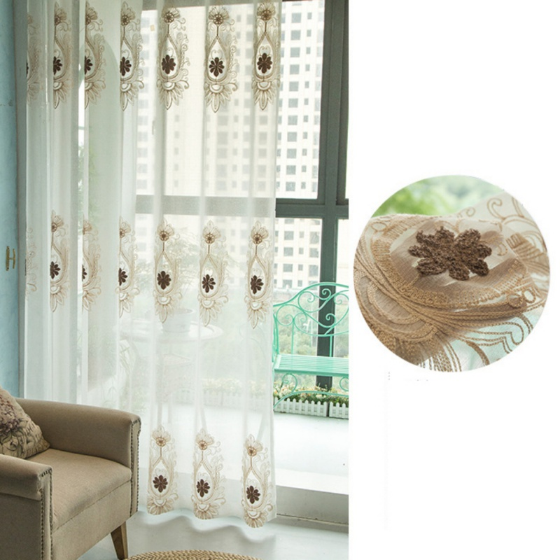 Curtain Simple Screens Embroidered Curtain Tulle Living Room Bedroom Cotton Fabric Multi Sizes