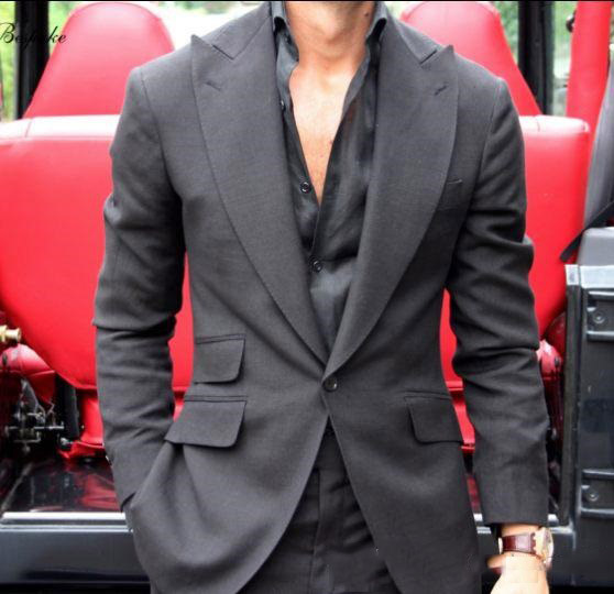 Dark Grey Handsome Men Wedding Tuxedos Fashion Suits Men Brand Slim Fit Business Suits 2 Pieces Custom Suits Jacket Pants