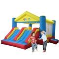 Dual Slide Salto Inflável Casa Bouncer Combo Bouncy Jumper Com Pista de Obstáculos