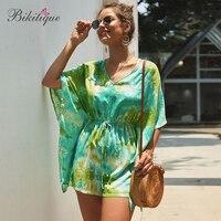 Bikitique Women Bohemian Bat Sleeve Jumpsuits Printed Pattern Waist Beach Holiday Style Rompers Boho Shorts Combinaison Femme