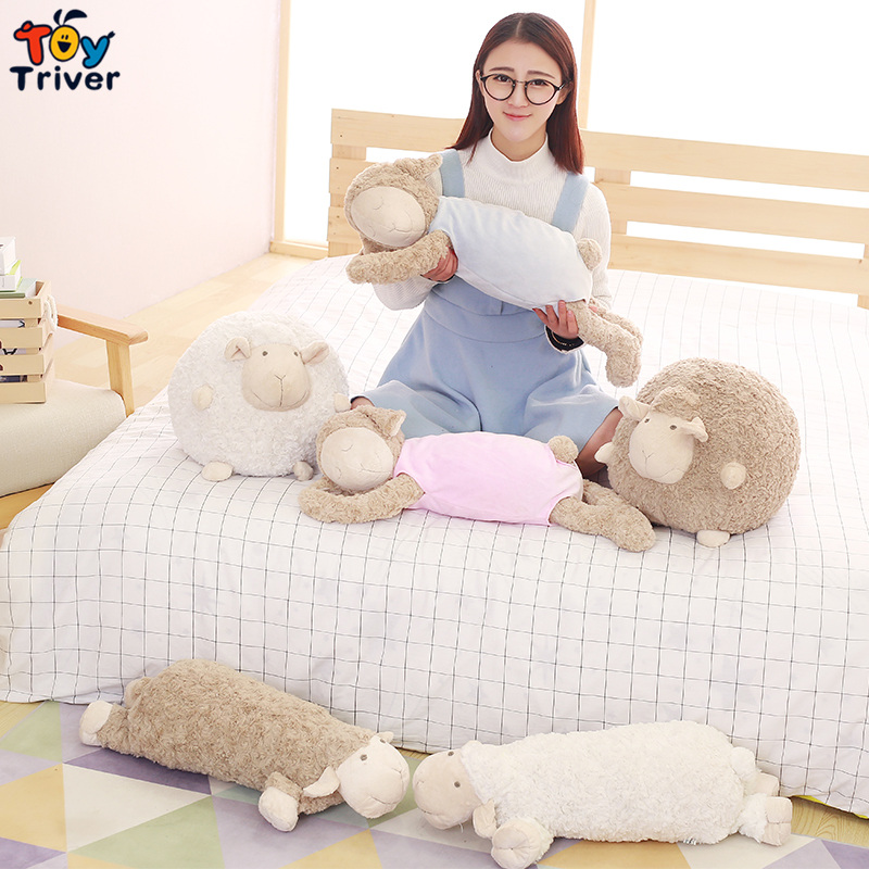 Plush Sleeping Sheep Lamb Dolls Toys Stuffed Doll Pillow for Kids Children Girl Friend Birthday Christmas Gift Sleep Appease ToyPlush Sleeping Sheep Lamb Dolls Toys Stuffed Doll Pillow for Kids Children Girl Friend Birthday Christmas Gift Sleep Appease Toy