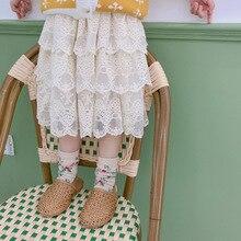 Модные кружевные юбки принцессы в Корейском стиле для девочек Милая многослойная юбка с цветочной вышивкой многоярусные юбки
