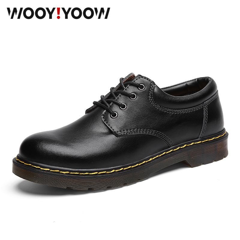 WOOY!YOOW Men Casual Boots Martin Shoes 2019 New Fashion Military Work Safety Shoes Men's Motorcycle Boots Britishstyle Shoes