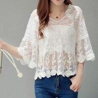 QA917 الكورية الإناث فضفاضة أنيقة بيضاء الدانتيل بلوزة الأزياء مضيئة كم منظور التطريز قميص المرأة أعلى