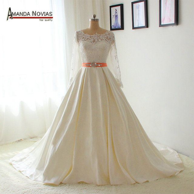 Simple 2017 New Collection Lace Sleeves Dress Bride With Low Back Wedding
