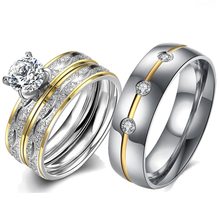 2019 New Crystal Stainless Steel Engagement Rings Couple Luxury Cubic Zirconia Ring for Women Wedding Bands Godly Jewels
