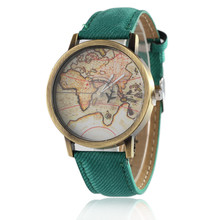 JECKSION Women Dress Watches,Fashion Global Travel By Plane Map Denim Fabric Band Watch Women 7Colors Free Shipping