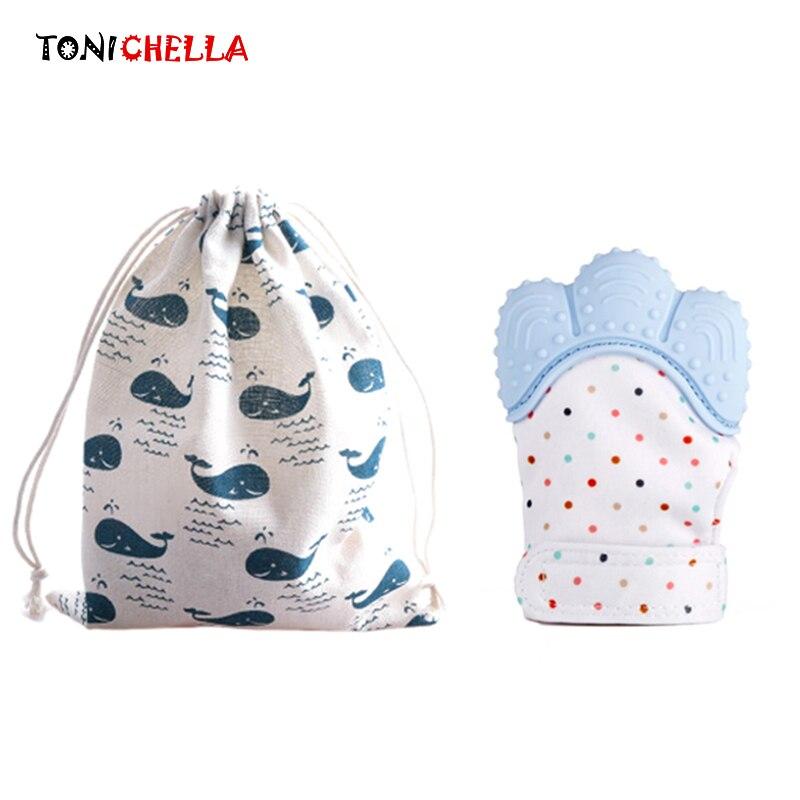 1 pcs Silicone Luva Com Saco Do Bebê Dentição Chupeta Mordedor Bebê Recém-nascido de Enfermagem Para Mastigar Beads BPA Livre T0399