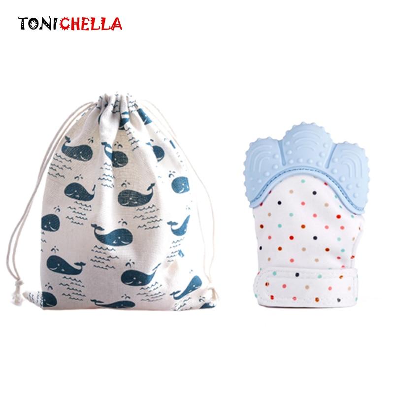1 stücke Silikon Beißring Handschuh Mit Tasche Baby Kinderkrankheiten Schnuller Neugeboren Krankenpflege Kautable Perlen BPA FREI T0399