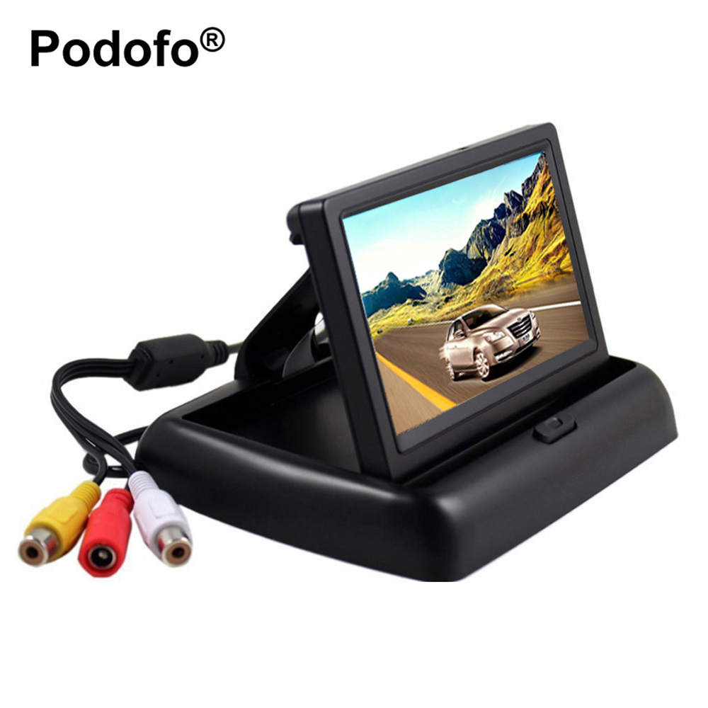 Podofo 4 3 HD Foldable Car Rear View Monitor Reversing Color LCD TFT Display Screen for