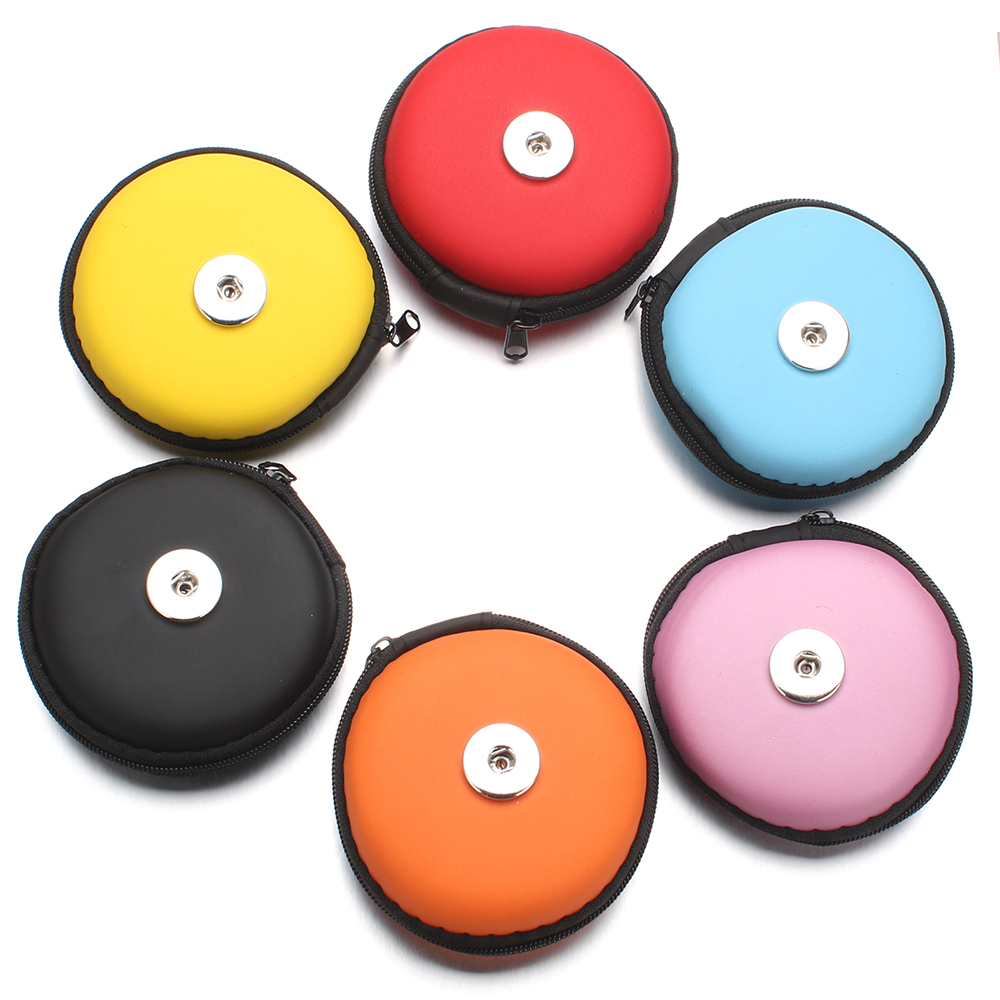 High Quality 6 Color Snap Button Coin Purse Wallet Small Round Hand Carry Bags Charms Bracelet for Women fit 18mm Snap Jewelry