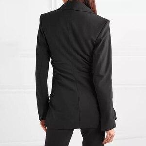 Image 2 - TWOTWINSTYLE レースアップ女性のセクシーな V ネック長袖黒ブレザー女性のコート春の秋のファッション OL 服 2020