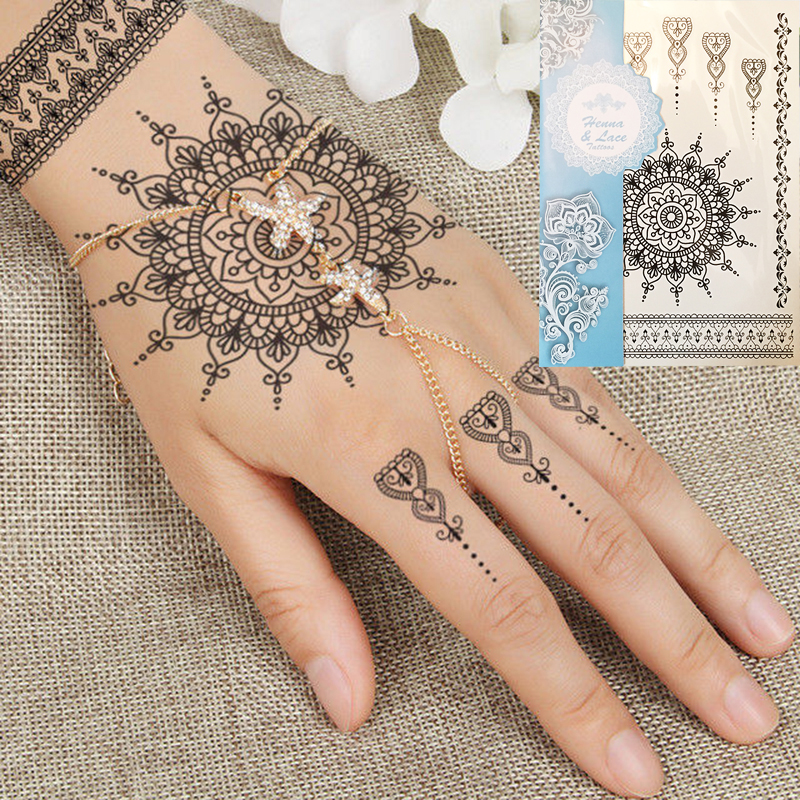 1PC Fashion Flash Vattentät Tattoo Kvinnor Svart Henna Jewel Lace Sexig Secret Arm Body Art Flower Tillfällig Tattoo Sticker