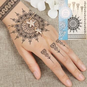 1PC Fashion Flash Waterproof Tattoo Women Black Henna Jewel Lace  Sexy Secret Arm Body Art Flower Temporary Tattoo Sticker