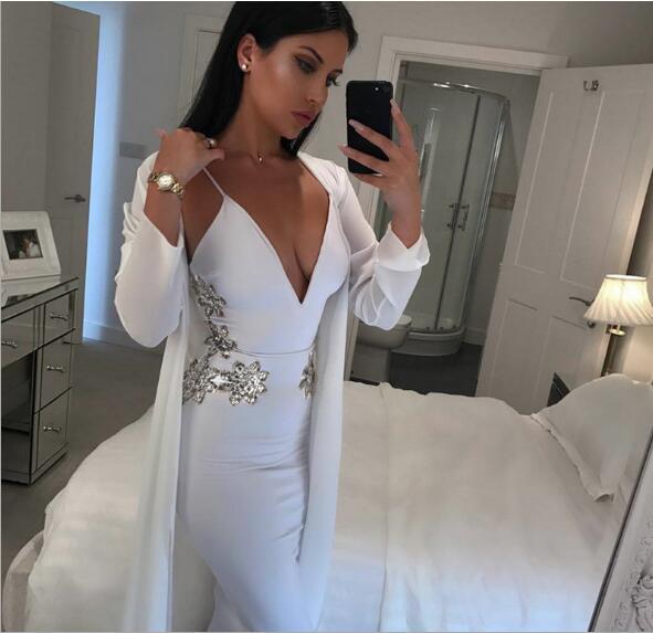 Top qualité Sexy Spaghetti sangle diamants blanc v-cou bandage robes en gros