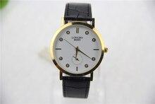 Relojes de marca de lujo, ultra-delgado de ocio de los hombres relojes, con incrustaciones de diamantes de línea, correa de cuero genuino, reloj de cuarzo resistente al agua