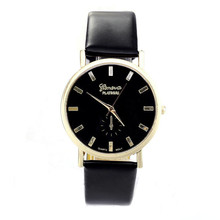 Fashion Geneva Unisex Watches Men Women Leisure Dial Faux Leather Band Roman Numerals Quartz WristWatch reloje mujer 2016 clock
