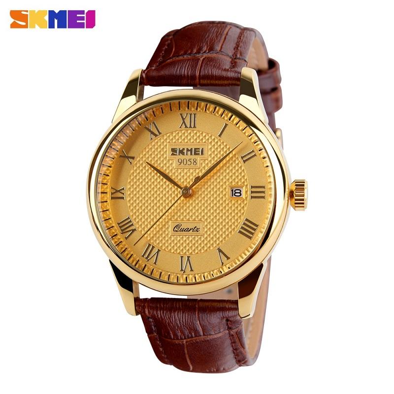 Prix pour Skmei hommes montres à quartz marque de luxe en cuir d'affaires de la mode casual montres hommes horloge étanche relogio masculino 9058
