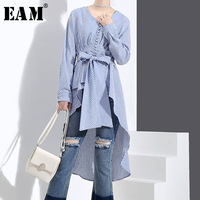 EAM 2018 Spring New Pattern Fashion Stripe Woman Shirt Irregular Hemline V Neck Long Sleeve