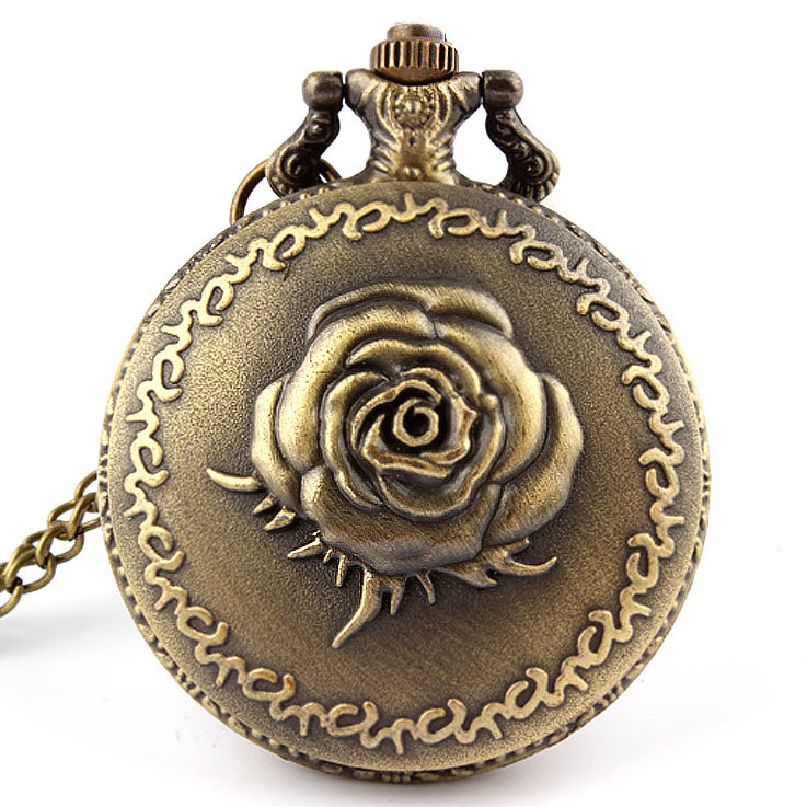 Antique Bronze Rose Love Quartz Pocket Watch Necklace Pendant Men Gift P120