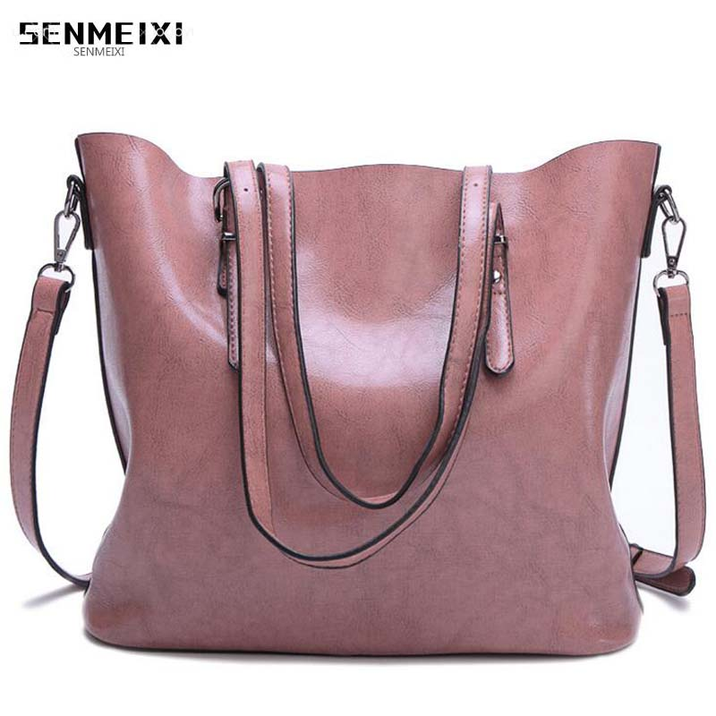 2018 New Retro oil wax Genuine leather bags for women big capacity lady shoulder/Messenger/ handbag fashion women big Bucket bag 2017 new fashion women handbag big button round bucket bag lady leather one shoulder messenger small tassel bags