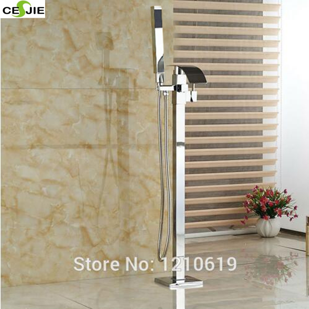Free Standing Bathroom Tub Faucet Mixer Tap Free Floor Filler Faucet Tap Chrome Finish