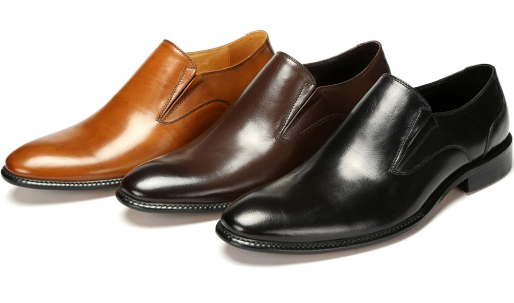 Large Size Eur46 Black Brown Tan Wedding Shoes Mens Business Genuine Leather