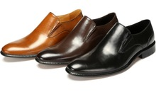 Large size EUR46 black / brown / brown tan  wedding shoes mens business shoes genuine leather dress shoes mens office shoes