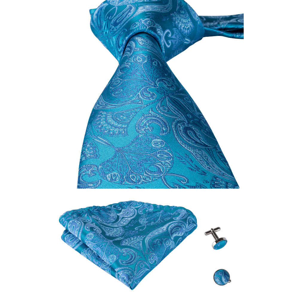 79fffd2d75be Mens Silk Neckwear Tie Casual Business 8.5cm Ties Hanky Cufflinks Sets  Wedding Classic Paisley Ties