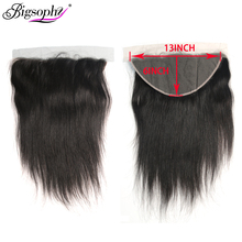 дешево!  Bigsophy Straight Hair 13x6 Lace Frontal Closure With Baby Hair Peruvian Human Remy Hair Closure Natural 8-24 Inch Free Part