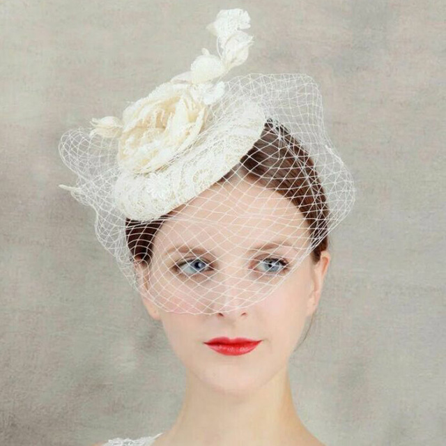 White Black Red Birdcage Net Wedding Hats Bridal Fascinator Face Veils Blue Ivory