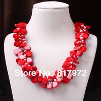 Glamour Hot Fashion Red Coral Water Drop inlay Real Pearl Bead Necklace Woman Fashion Party &6N0084