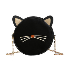 036ca9af9 Fashion Women Velvet Small Round Bag Messenger Bag Cute Cat Ear Crossbody  Bags Women Designers Chain