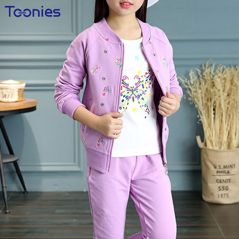 Children Clothing Sets Spring Autumn Girls Pants Suit Lovely Flowers Print Girl Sportswear Jacket+Tees+Pants 3pcs Child Clothes