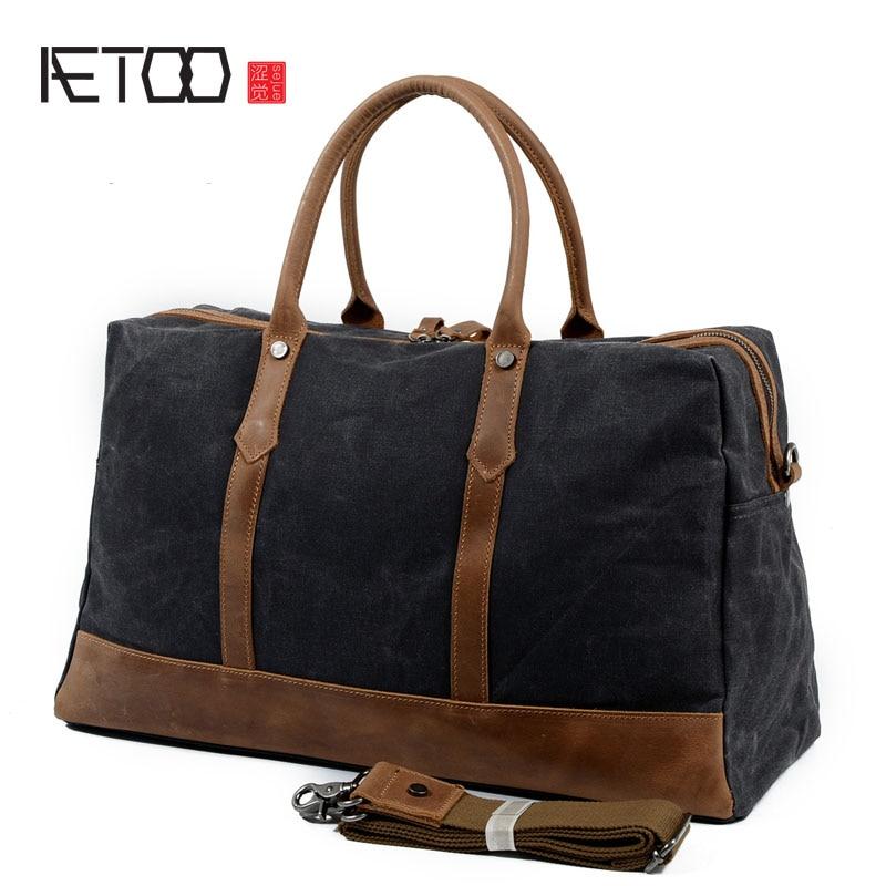 AETOO Retro Oil Wax Waterproof Canvas Handbag Travel Bag With Crazy Kay Leather Shoulder Messenger Bag Mens Bag