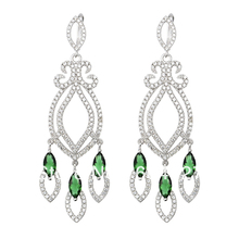 Free Shipping NEW Pure 925 Sterling Silver Earrings Silver Stylish Jewelry Green Stone Drop Earrings TZ0035