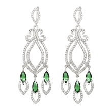 Free Shipping –NEW Pure 925 Sterling Silver Earrings Silver Stylish Jewelry Green Stone Drop Earrings TZ0035-E