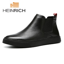 hot deal buy heinrich winter the new listing men's chelsea boots british style fashion ankle boots black snow martin boots soulier homme