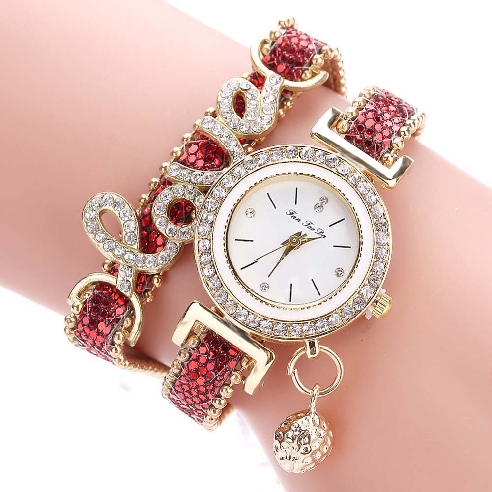 Fashion Women Multi-layer Bracelet Quartz Watch Alloy Crystal Love Letter Band Wristwatch Jewelry Gifts SSA-19ING
