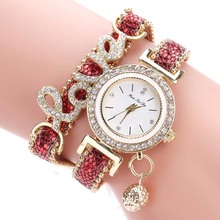 Fashion Women Multi-layer Bracelet Quartz Watch Alloy Crystal Love Letter Band W
