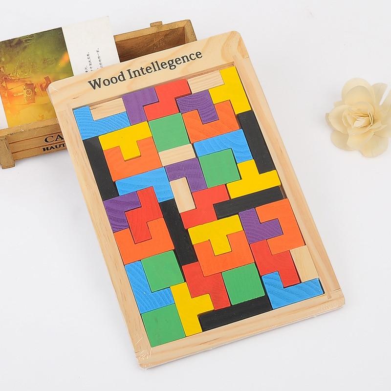 New High Quality Wooden Tangram Brain Tetris Game Blocks Educational Toys Preschool Children Play Harmless Wood Training