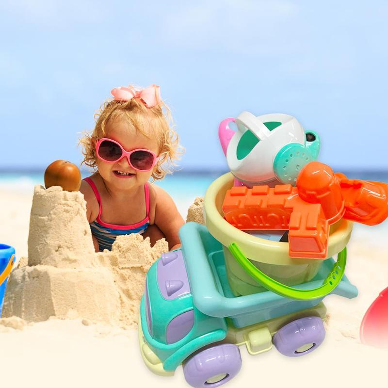 Portable Water Beach Play Toys Set Children Seaside Bucket Shovel Vehicle Kit  Bright Color Easy To Attract Baby's Attention