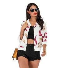 Print Bomber Jacket Women Leopard Zipper Up Retro Coat Spring 2019 Summer Long Sleeve Basic Short Biker autumn jacket streetwear swallow print zipper up jacket