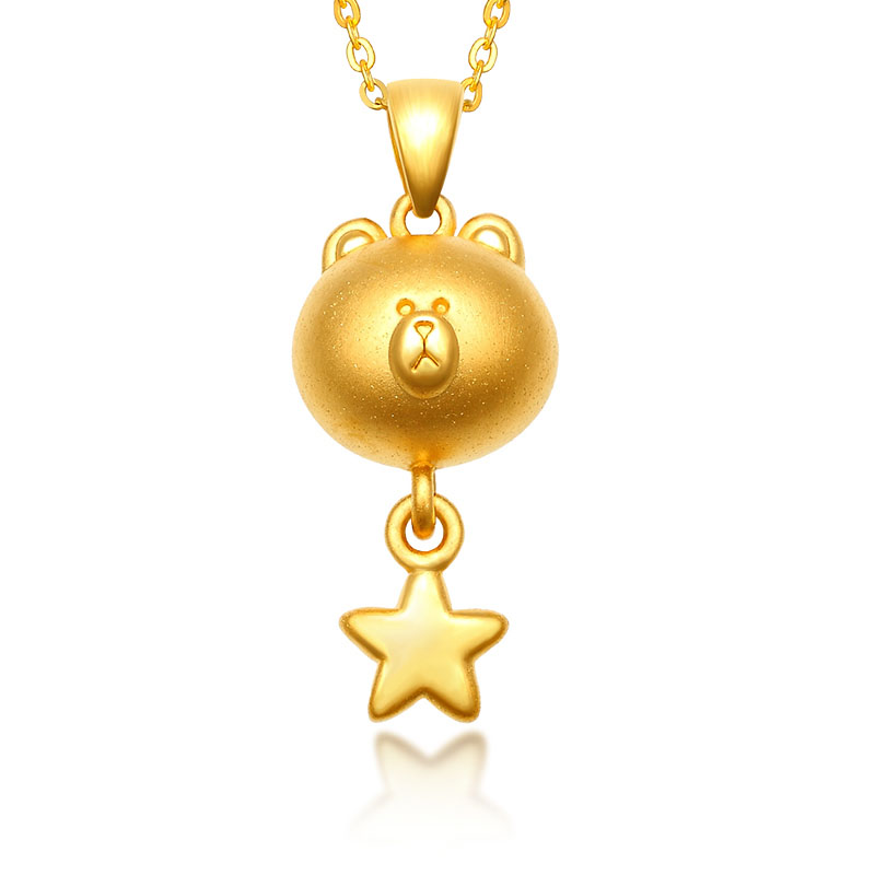 Pure 24K Yellow Gold Pendant 999 Gold 3D Cute Bear Star Pendant 1.85g