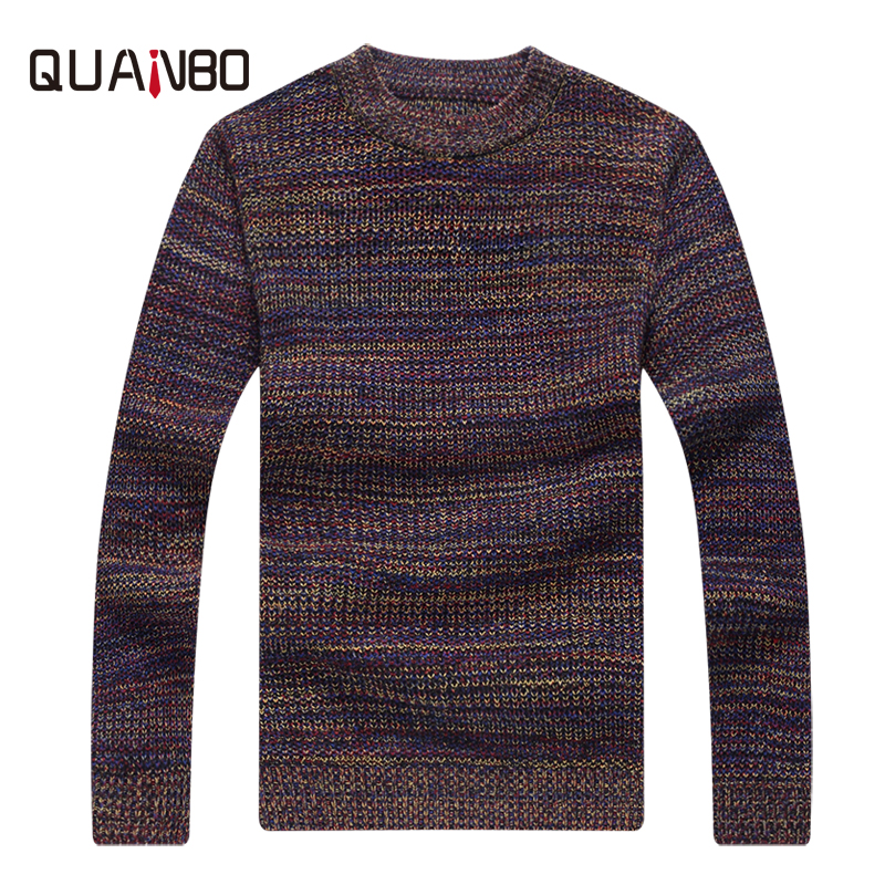 QUANBO 2019 New Arrival Winter Vintage Sweaters Men Fashion Slim Pullovers Casual Colourful Knitted Pullover Christmas Sweater